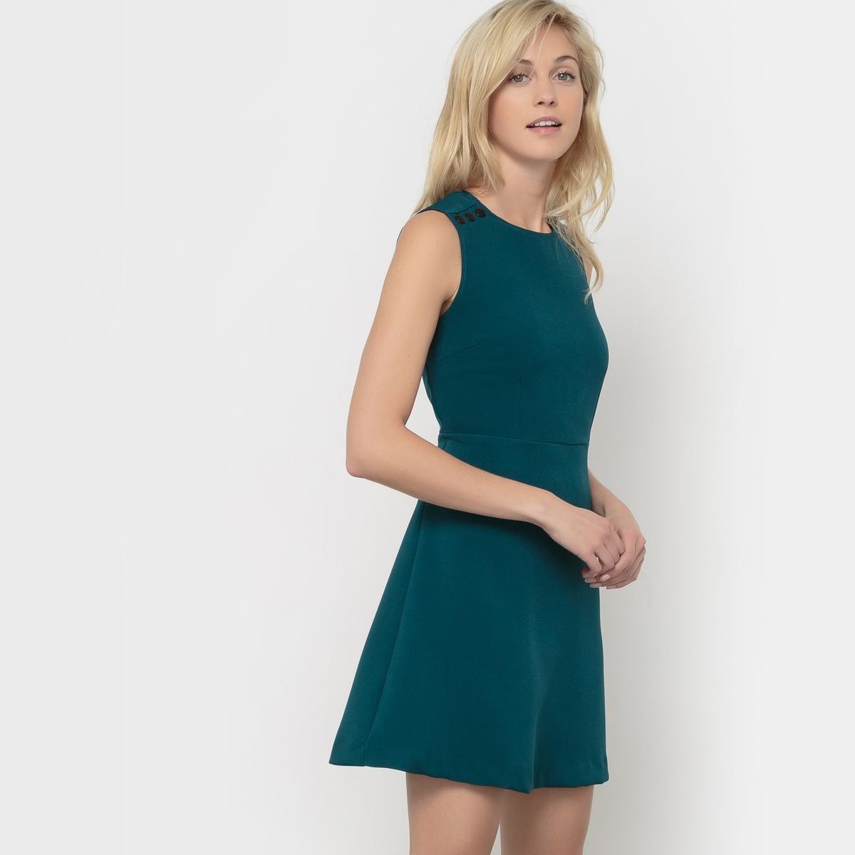 Платье без рукавовСостав и описание     Материал        96% полиэстера, 4% эластана     Марка        VERO MODA<br><br>Цвет: сине-зеленый<br>Размер: L