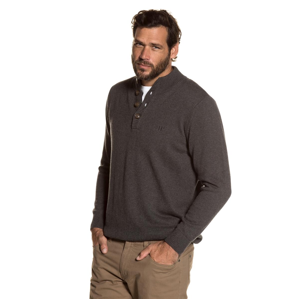 Пуловер с воротником-стойкой из тонкого трикотажаДетали •  Длинные рукава •  Воротник-стойка •  Тонкий трикотаж Состав и уход •  100% хлопок •  Следуйте советам по уходу, указанным на этикеткеТовар из коллекции больших размеров<br><br>Цвет: серый<br>Размер: 6XL