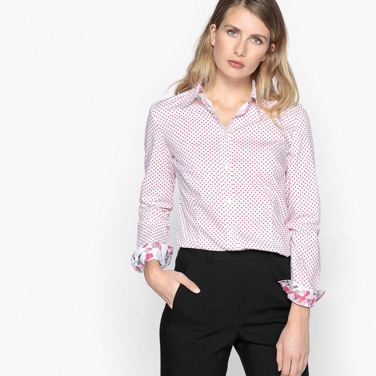 Блузка с рубашечным воротником и рисунком в горошек