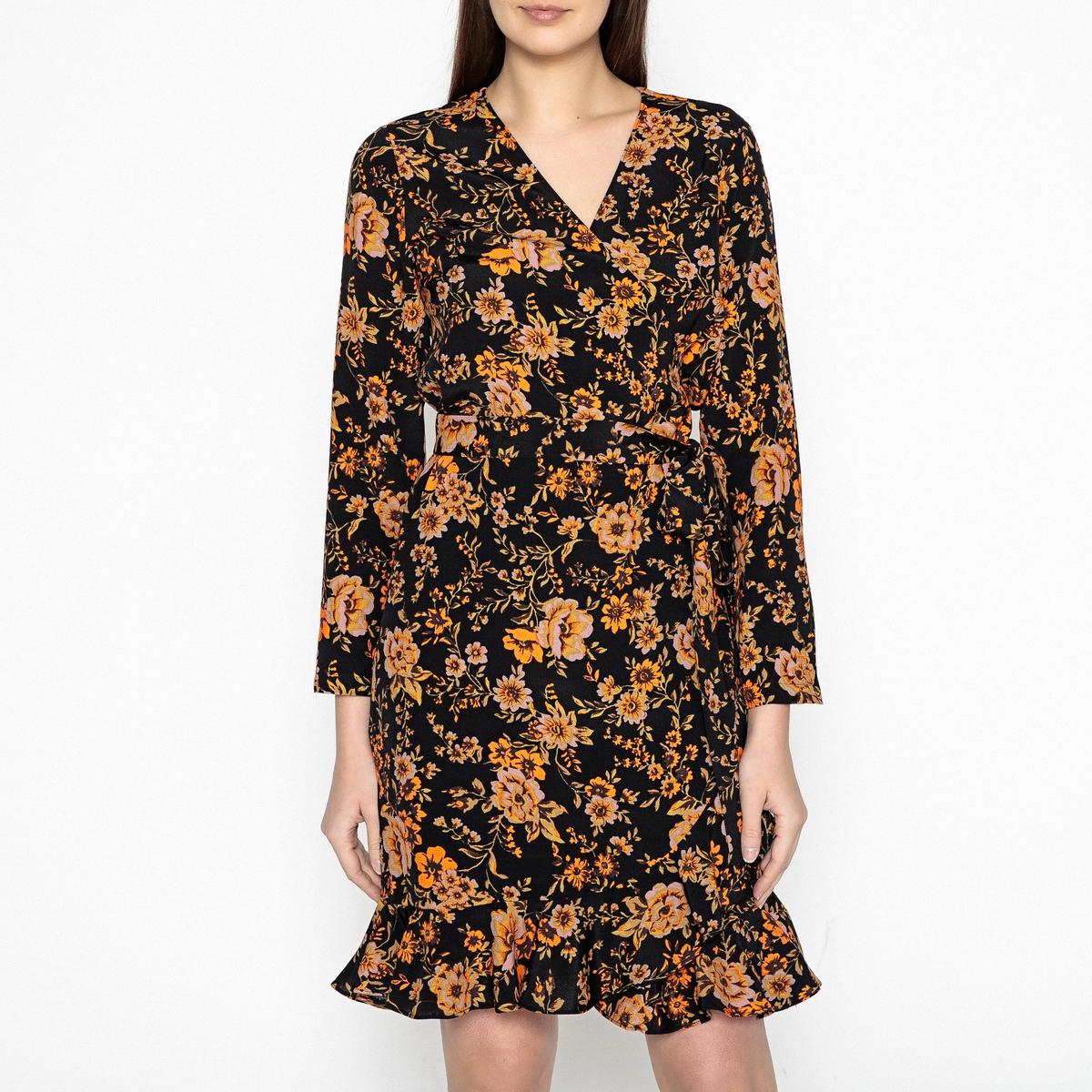 Платье с запахом рисунком и воланом LIMON
