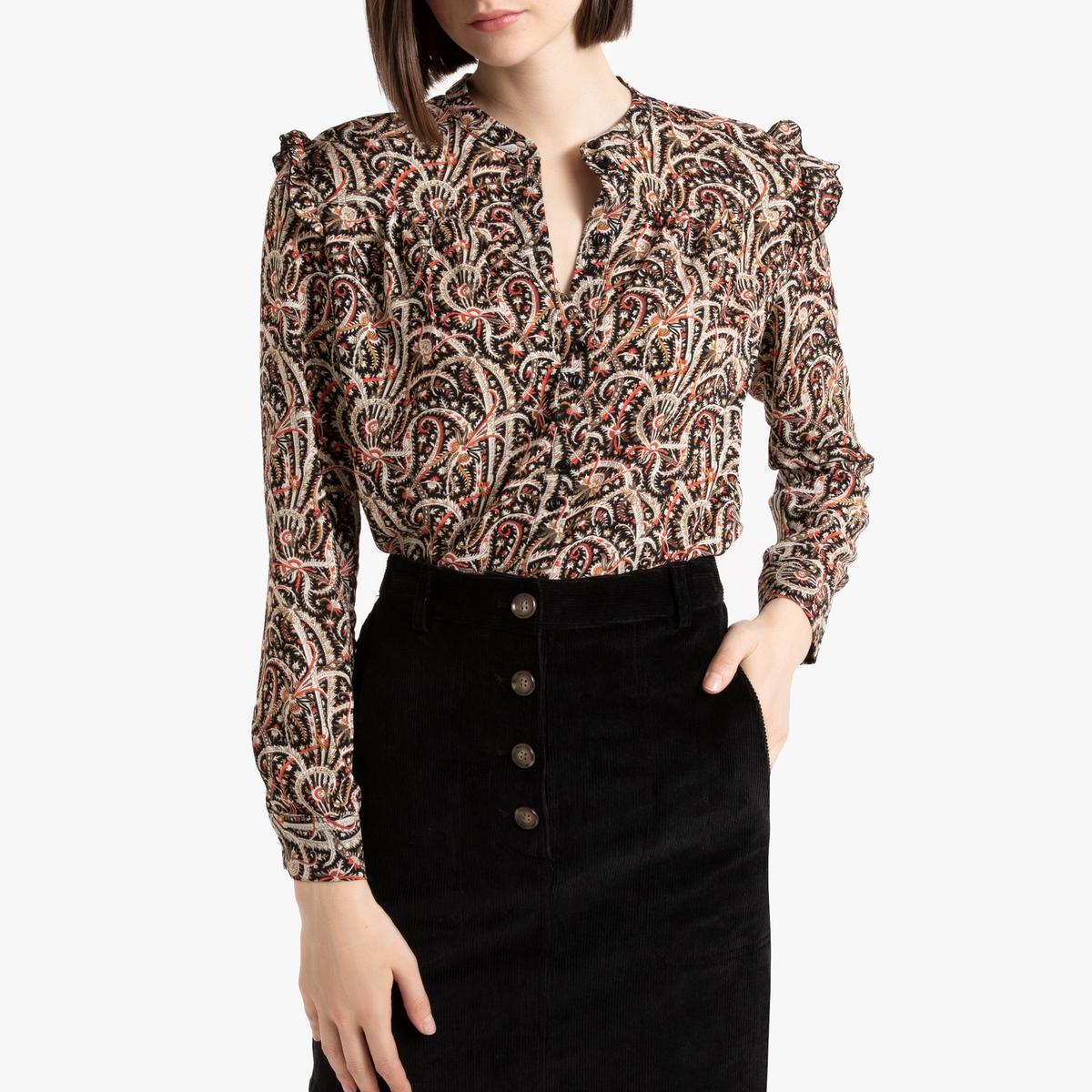 Блузка La Redoute С длинными рукавами и круглым вырезом 1(S) черный блузка la redoute с круглым вырезом цветочным рисунком и длинными рукавами s черный