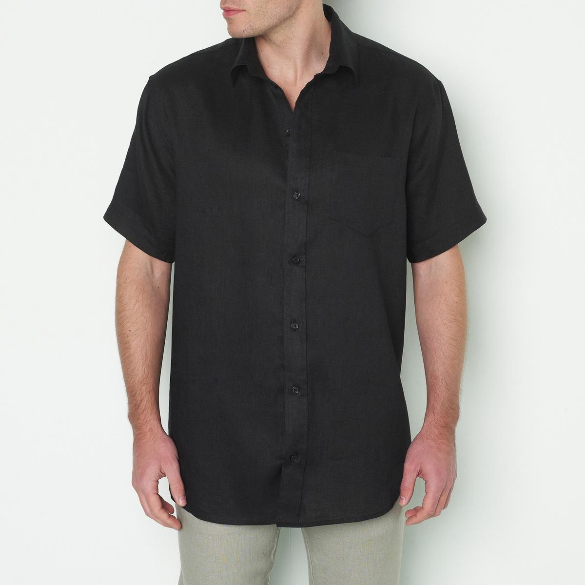 Рубашка с короткими рукавами, 100% ленЭта рубашка из льна есть в версии с длинными рукавами .<br><br>Цвет: белый,голубой,кирпичный,черный<br>Размер: 49/50.55/56.53/54.55/56.59/60.53/54.57/58