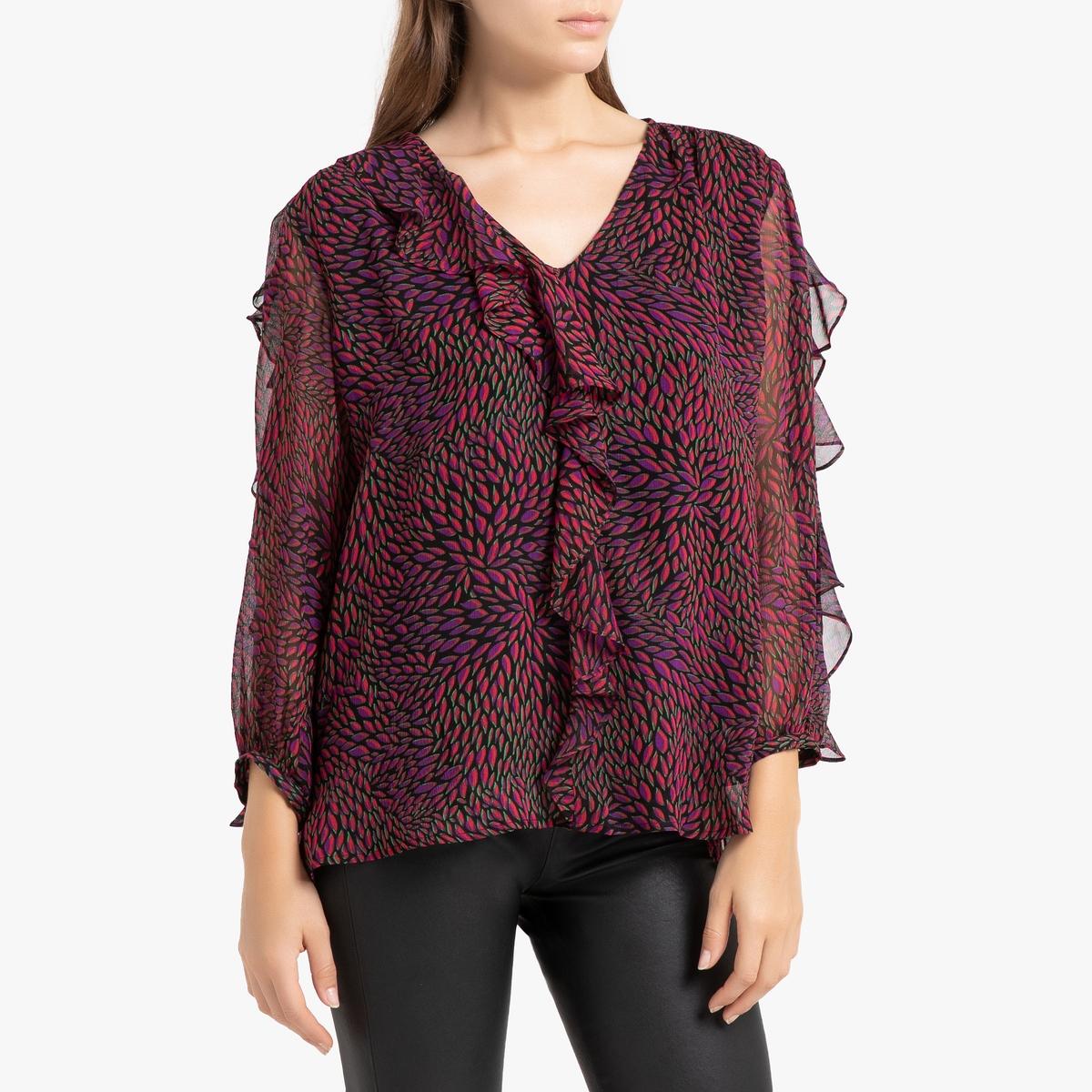 Блузка La Redoute С рисунком V-образным вырезом и длинными рукавами GENNY 0(XS) розовый блузка с рисунком и рукавами с напуском kalao blouse