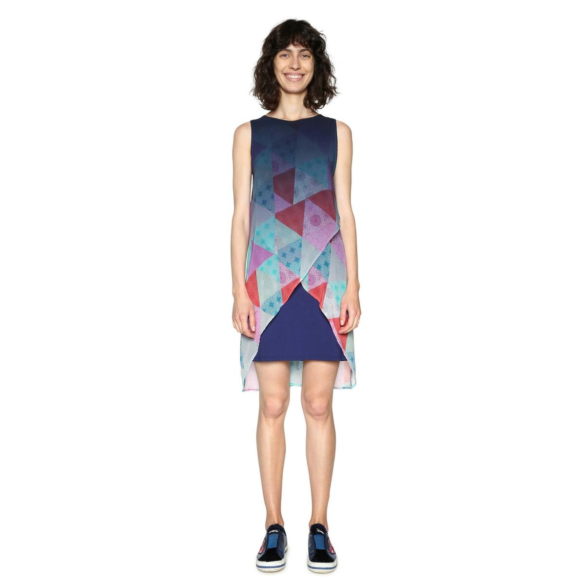 Платье короткое прямое с графическим рисунком, без рукавовОписание:Детали •  Форма : прямая •  Укороченная модель•  Без рукавов    •  Круглый вырез •  Графический рисунокСостав и уход •  100% полиэстер •  Следуйте рекомендациям по уходу, указанным на этикетке изделия<br><br>Цвет: рисунок темно-синий<br>Размер: 36 (FR) - 42 (RUS).44 (FR) - 50 (RUS).42 (FR) - 48 (RUS).40 (FR) - 46 (RUS).38 (FR) - 44 (RUS)