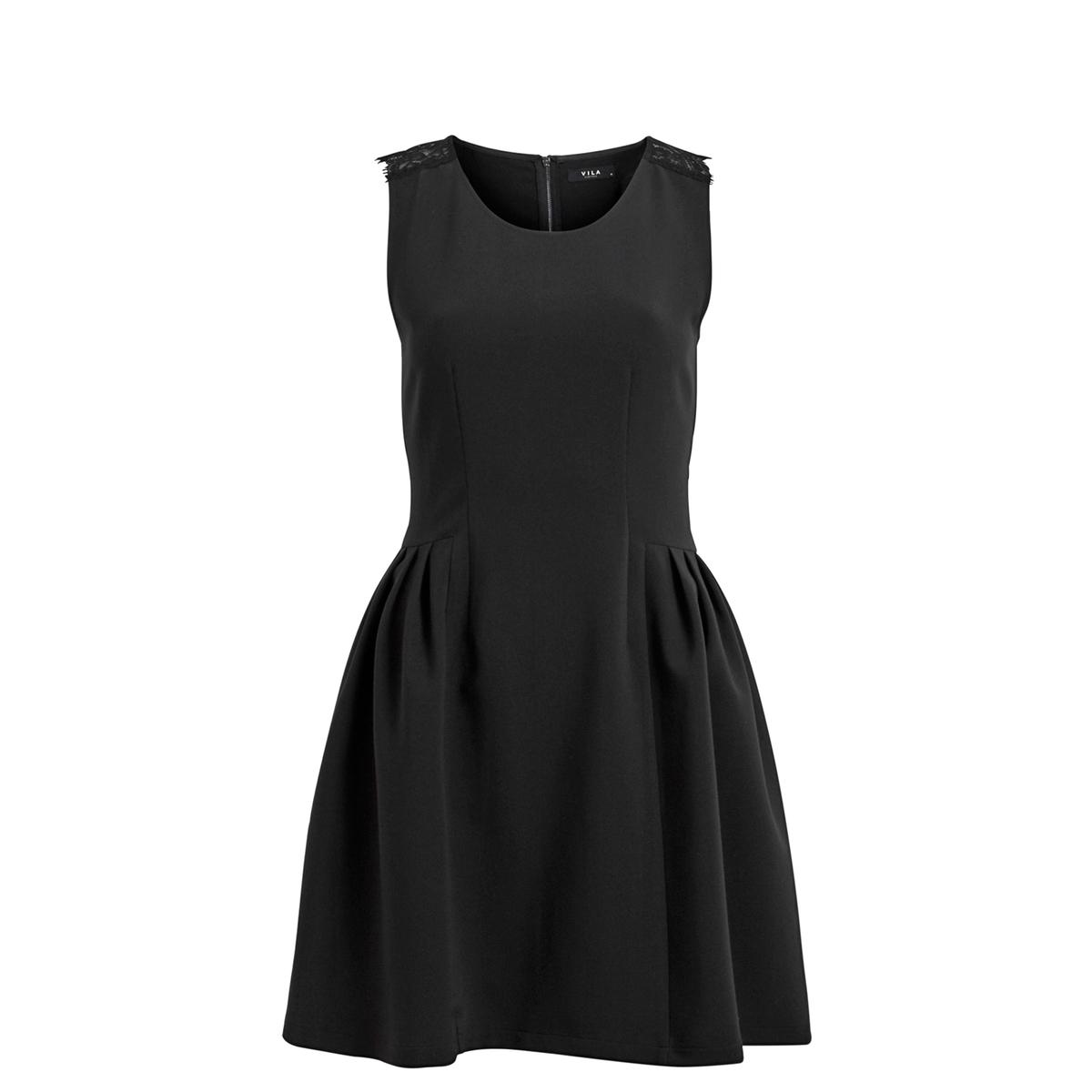 Платье без рукавов из кружева VIALVINA DRESSСостав и описаниеМарка : VILAМатериал : 77% полиэстера, 18% вискозы, 5% эластана<br><br>Цвет: черный<br>Размер: L