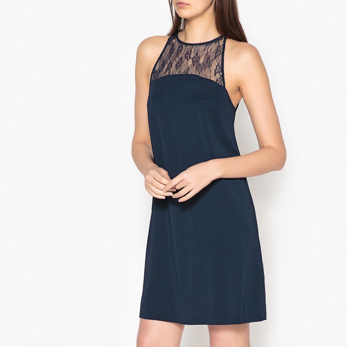 Платье короткое кружевное без рукавов BINA платье без рукавов с кружевной вставкой на спинке