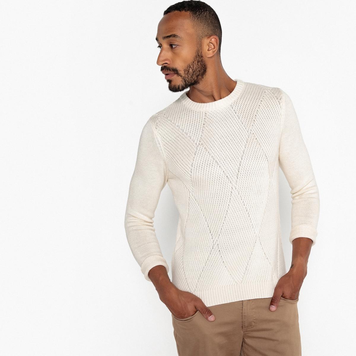 Пуловер La Redoute С круглым вырезом из плотного трикотажа 3XL бежевый пуловер la redoute с круглым вырезом из шерсти мериноса pascal 3xl черный