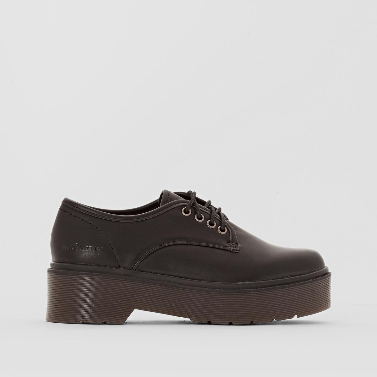 Ботинки-дерби на толстой подошве BONETПодкладка : Микрофибра   Стелька : Микрофибра   Подошва : каучук.   Высота каблука : 5 смФорма каблука : Широкий    Носок : Закругленный.   Застежка : шнуровка.<br><br>Цвет: черный<br>Размер: 37