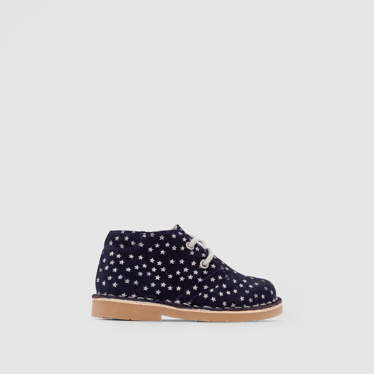 Ботинки из спилка с рисунком звезды