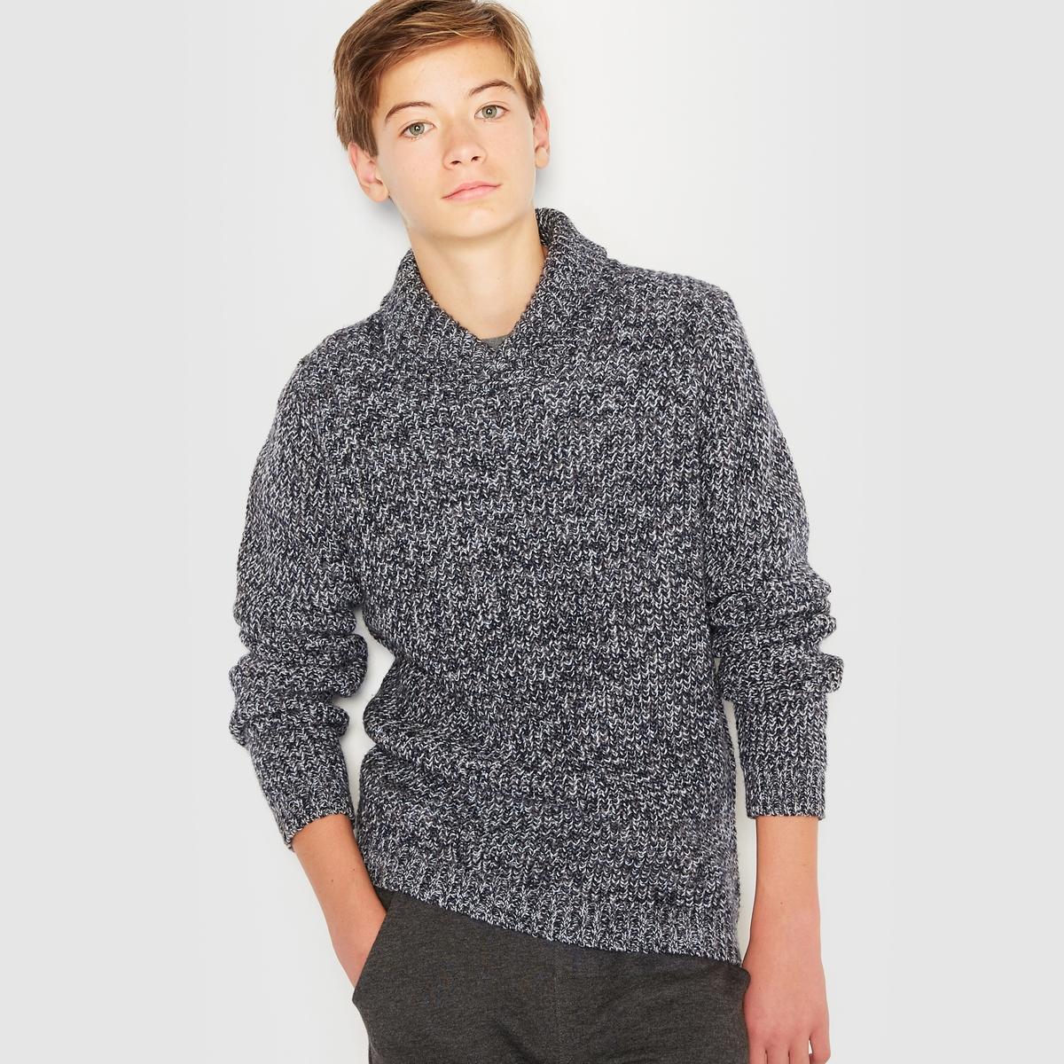 Пуловер утепленный оригинальной вязки с шалевым воротником, 10-16 лет