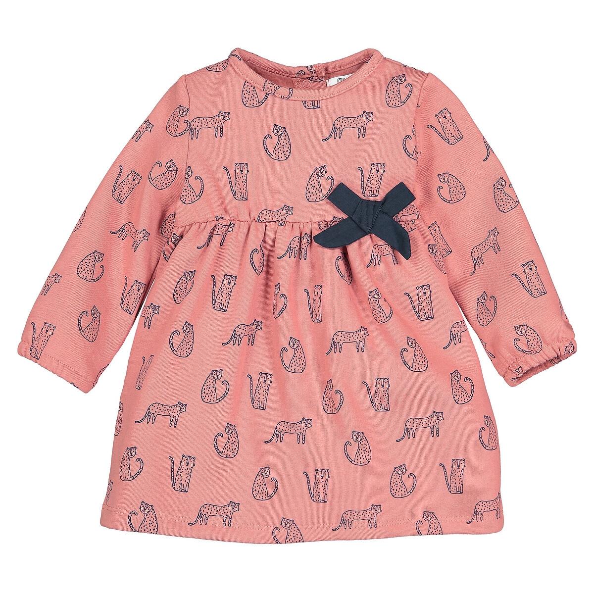 Фото - Платье LaRedoute Из мольтона с леопардовым рисунком 1 мес - 3 года 3 мес. - 60 см розовый брюки laredoute из мольтона с бантом 1 мес 3 года 9 мес 71 см розовый