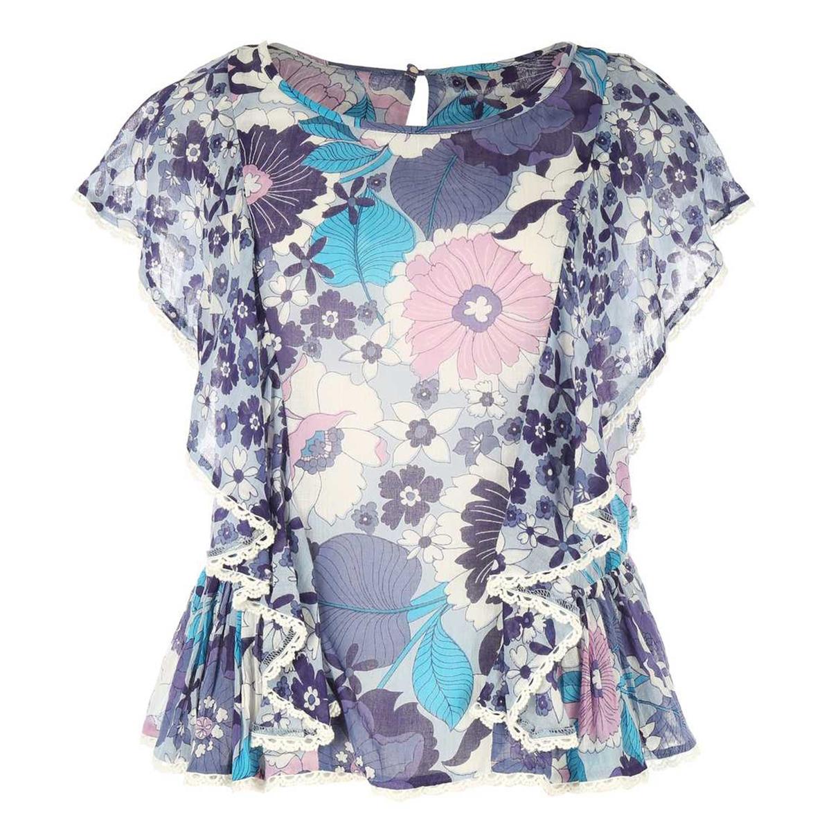 Блузка с круглым вырезом, цветочным рисунком  короткими рукавами