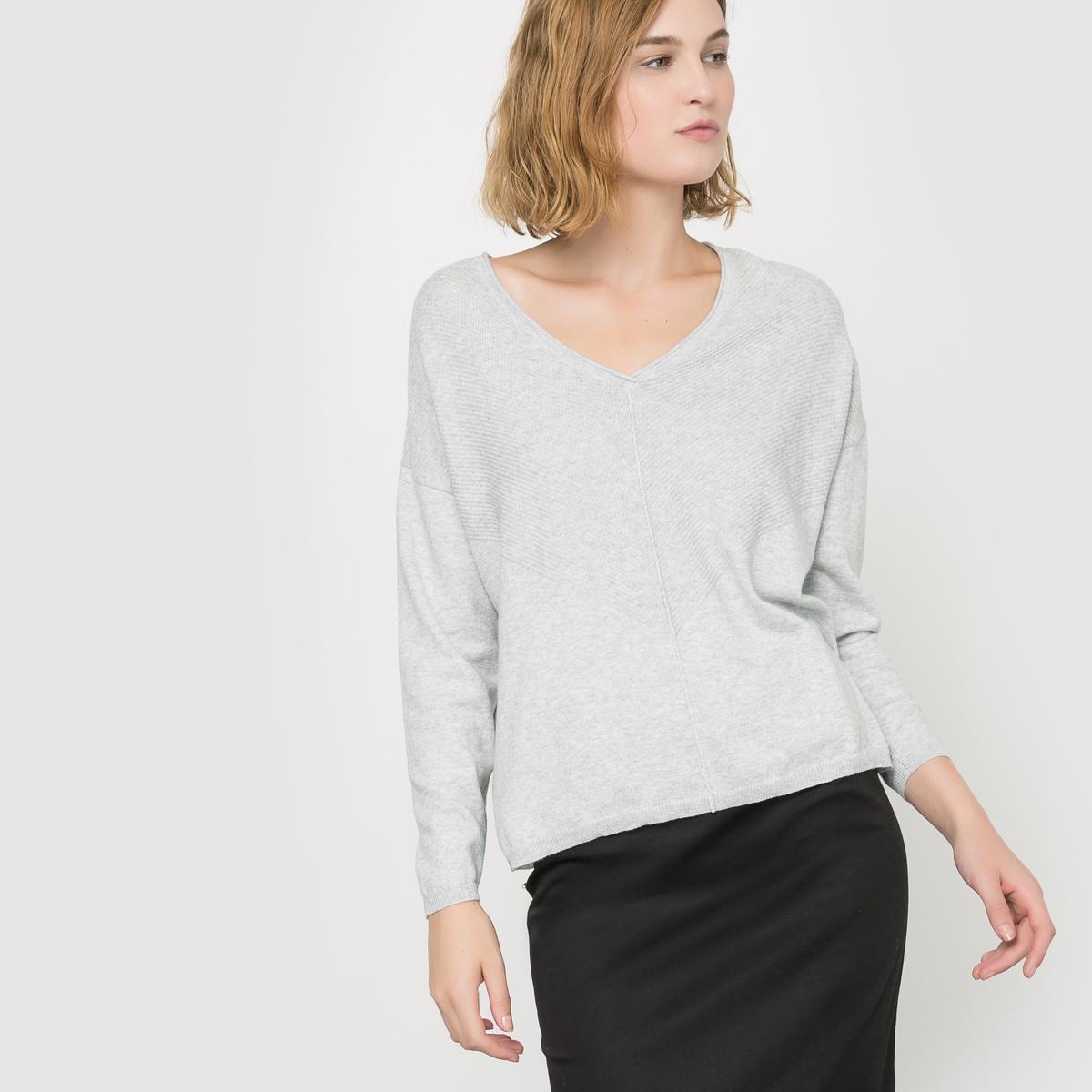 Sweter z dekoltem V z dzianiny o drobnym splocie