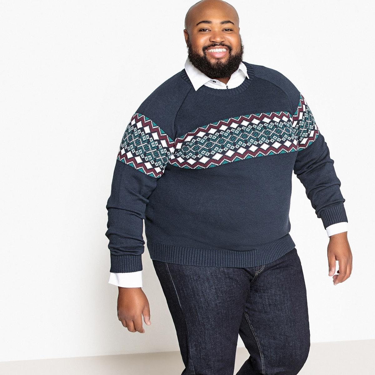 Пуловер жаккардовый из коллекции больших размеров с круглым вырезом из плотного трикотажа CASTALUNA FOR MEN