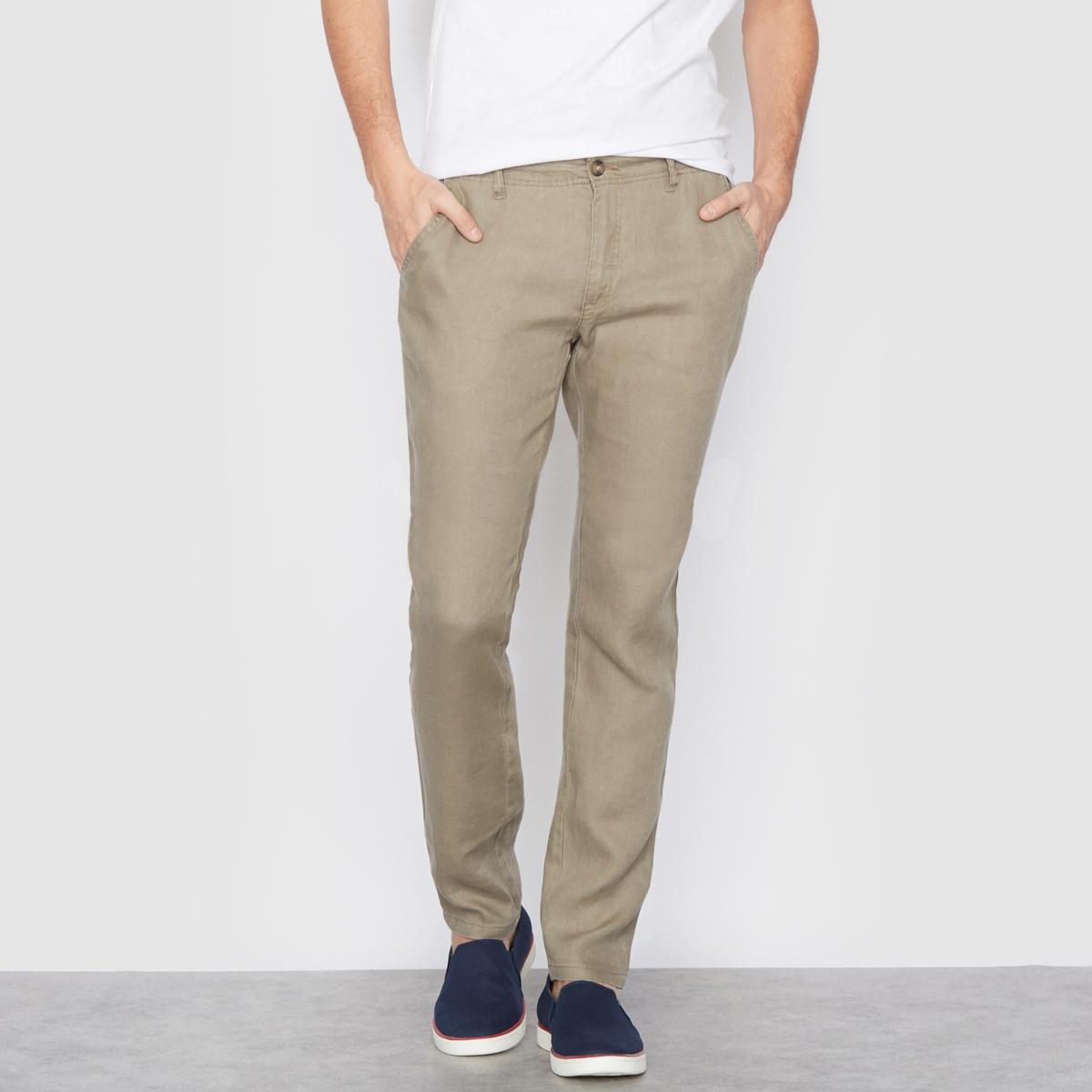 Брюки прямого покроя, 100% льна брюки из лиоцелла и льна