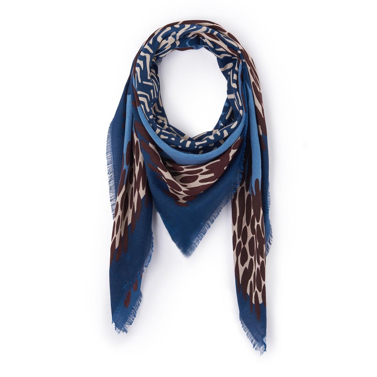 Платок с леопардовым рисункомОписание:Платок с красивым принтом, который должен быть в вашем гардеробе ! Состав и описание :Материал : полиэстерРазмер : 132X140см<br><br>Цвет: синий<br>Размер: единый размер