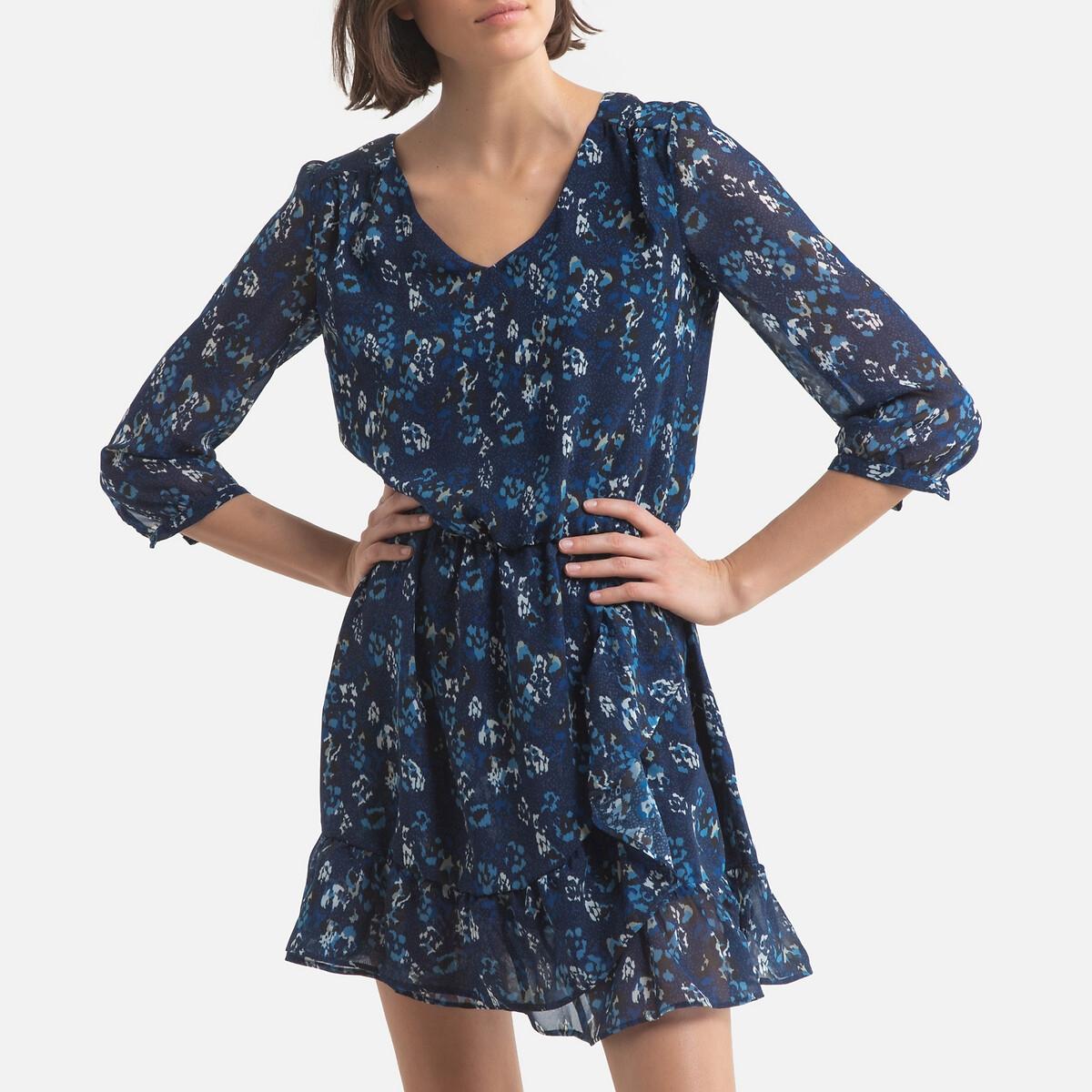 Платье LaRedoute Короткое расклешенное с длинными рукавами 40 (FR) - 46 (RUS) синий рубашка laredoute с v образным вырезом и длинными рукавами 46 fr 52 rus бежевый