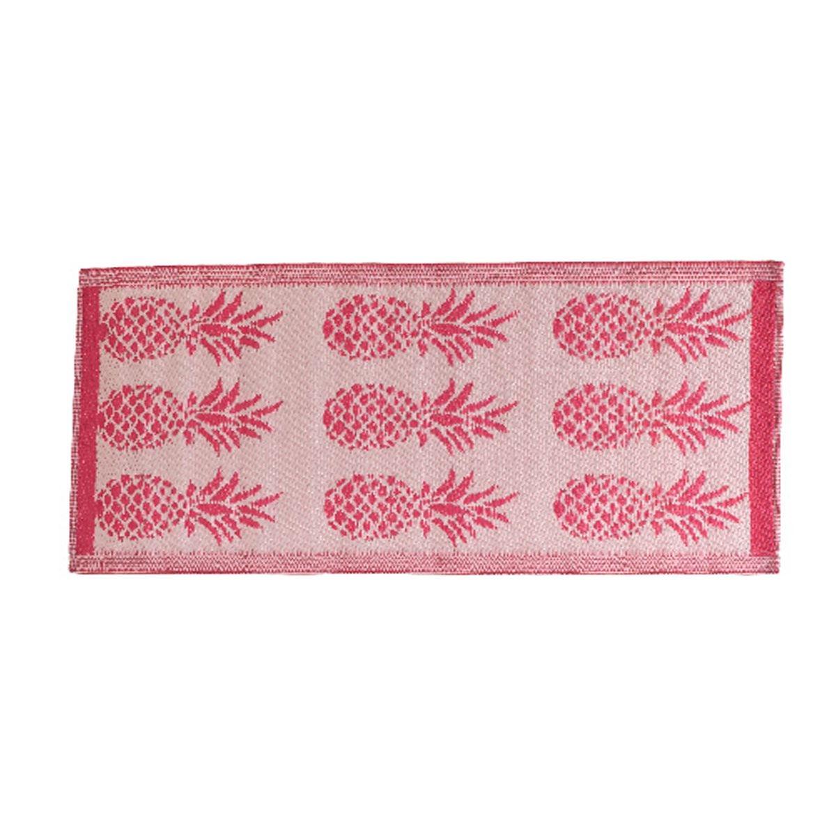 Tapis rectangulaire en polypropylène 140 x 70 cm motifs ananas Rose - Jardideco