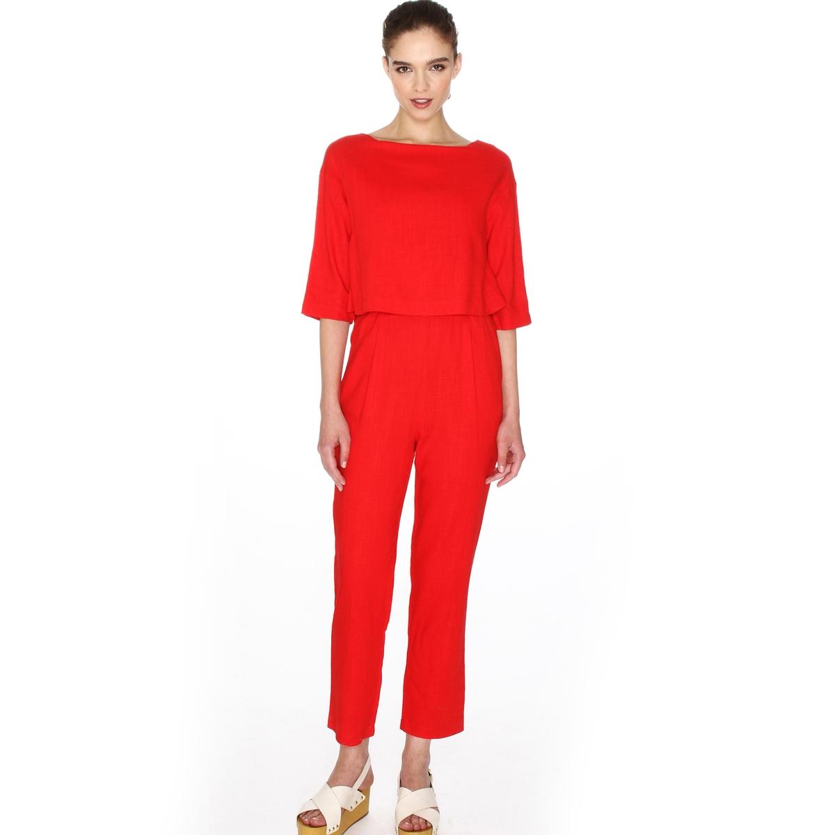 Комбинезон с прямыми брюкамиМатериал : 45% других волокон, 55% полиамидаПокрой комбинезона :облегающий, форма дудочки Длина комбинезона : 32 Тип комбинезона : комбинезон с брюками.<br><br>Цвет: красный<br>Размер: S