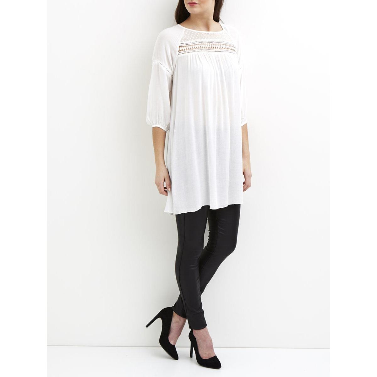 Платье с рукавами 3/4, из вуали, с вышивкой гладью, VILA VIGURLA TUNICСостав и описание :Материал : 100% вискозыМарка : VILA<br><br>Цвет: белый