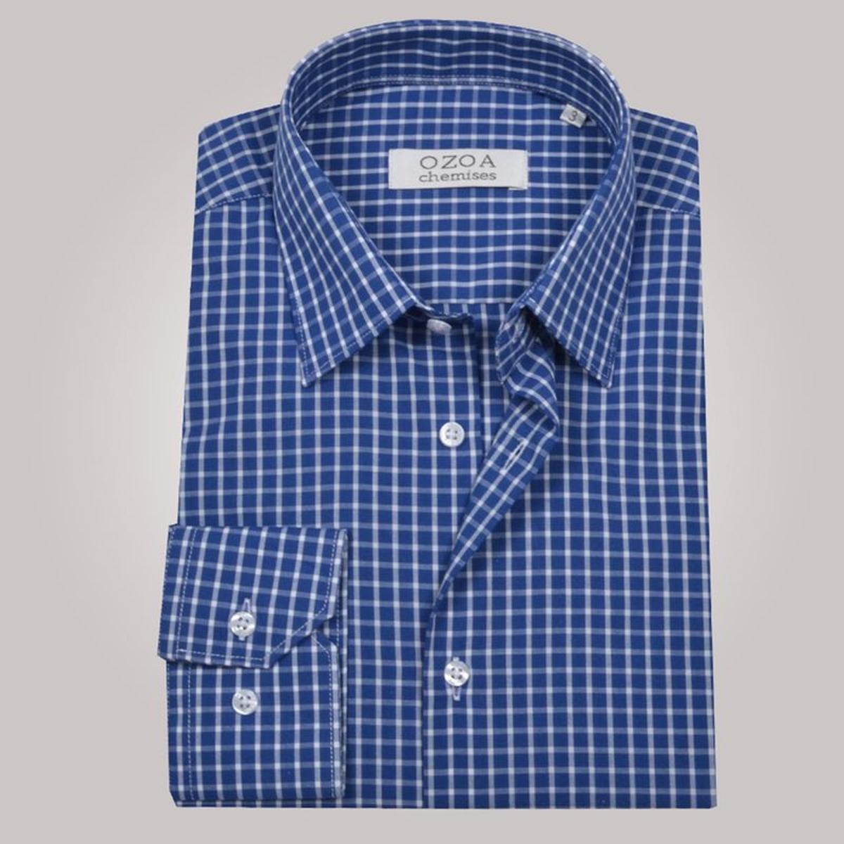 Chemise non cintrée à carreaux, en coton
