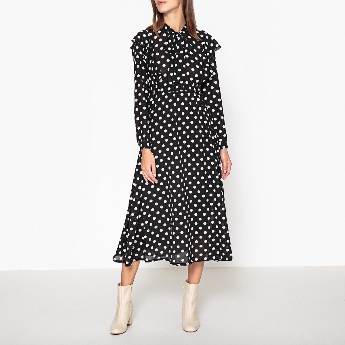 Платье до колен с длинными рукавами
