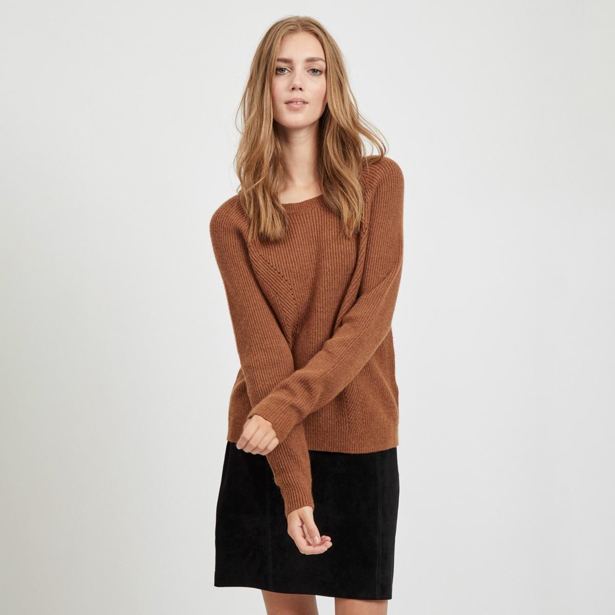Пуловер La Redoute С круглым вырезом и длинными рукавами M каштановый пуловер la redoute с круглым вырезом и длинными рукавами m каштановый