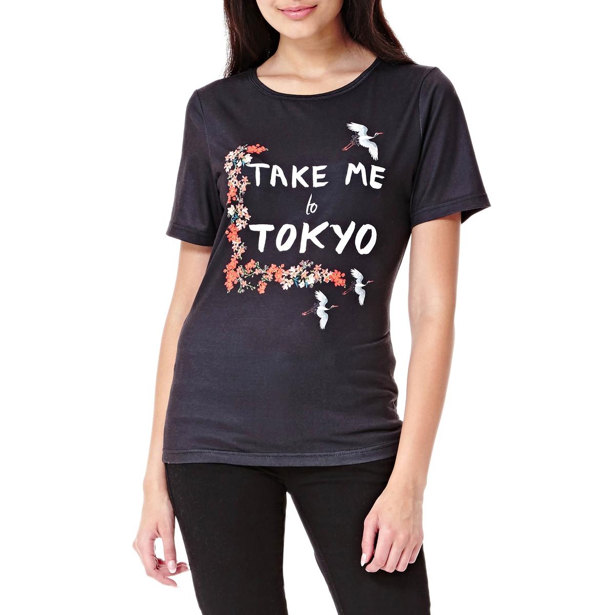 Футболка с рисункомФутболка с короткими рукавами YUMI. Футболка слегка приталенного покроя с круглым вырезом. С надписью «Take me to Tokyo». Состав и описание :Материал : 94% полиэстера, 6% эластанаМарка : YUMIУход- Стирать при 30°C с вещами схожих цветов- Стирать и гладить с изнанки<br><br>Цвет: черный