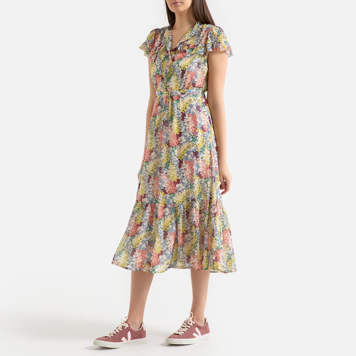 Платье La Redoute С принтом с короткими рукавами CASTILLE 0(XS) каштановый