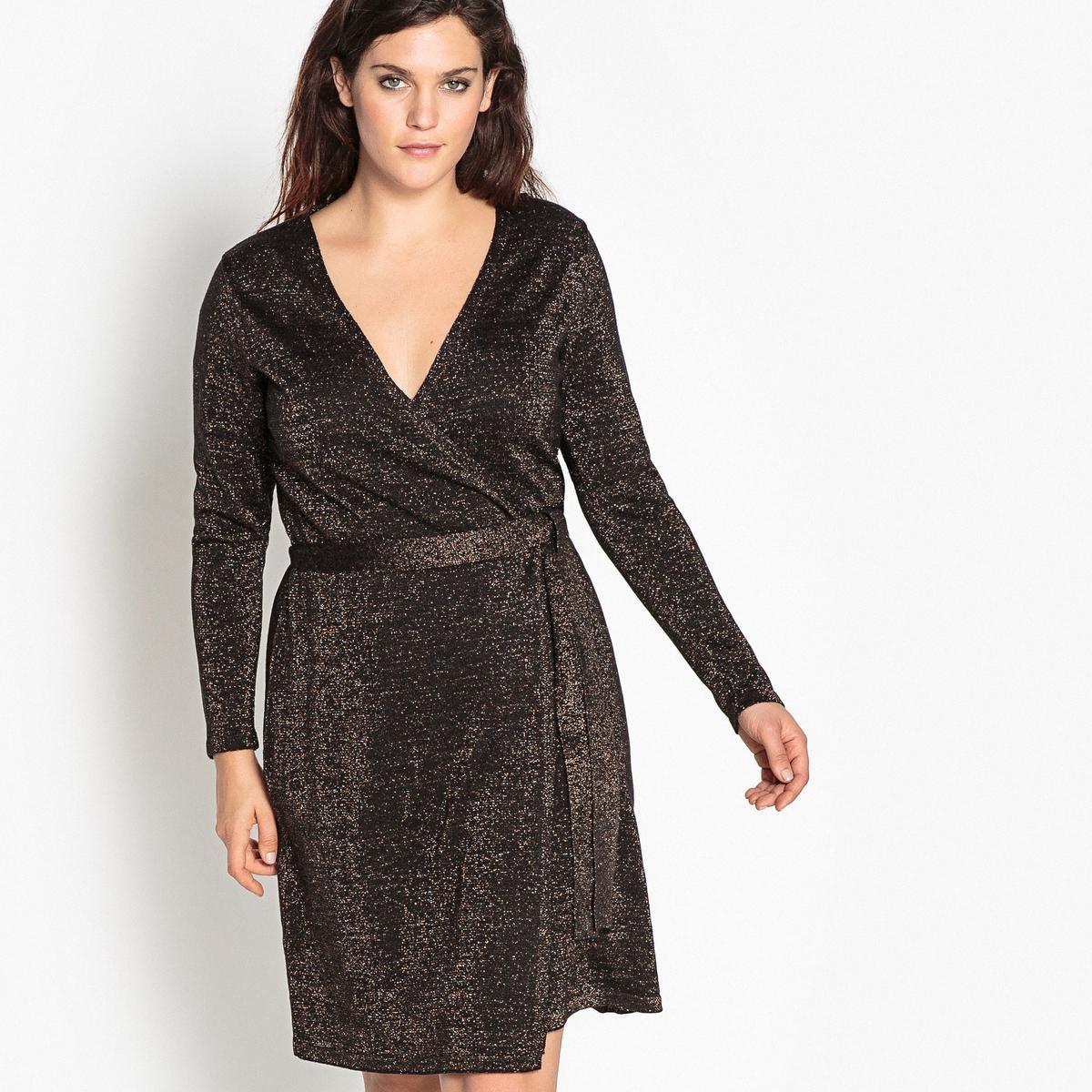 Платье с запахом из трикотажаОписание:Очень элегантное и ультра женственное платье с запахом. Платье с запахом из блестящего трикотажа идеально для вечерних выходов в свет.Детали •  Форма : с запахом  •  Длина до колен •  Длинные рукава    •   V-образный вырезСостав и уход •  84% акрила, 6% металлизированных волокон, 10% полиэстера •  Температура стирки при 30° на деликатном режиме   • Низкая температура глажки / не отбеливать   •  Не использовать барабанную сушку   • Сухая чистка запрещенаТовар из коллекции больших размеров •  Длина : 102 см<br><br>Цвет: черный/золотистый люрекс<br>Размер: 52 (FR) - 58 (RUS).46 (FR) - 52 (RUS).48 (FR) - 54 (RUS)