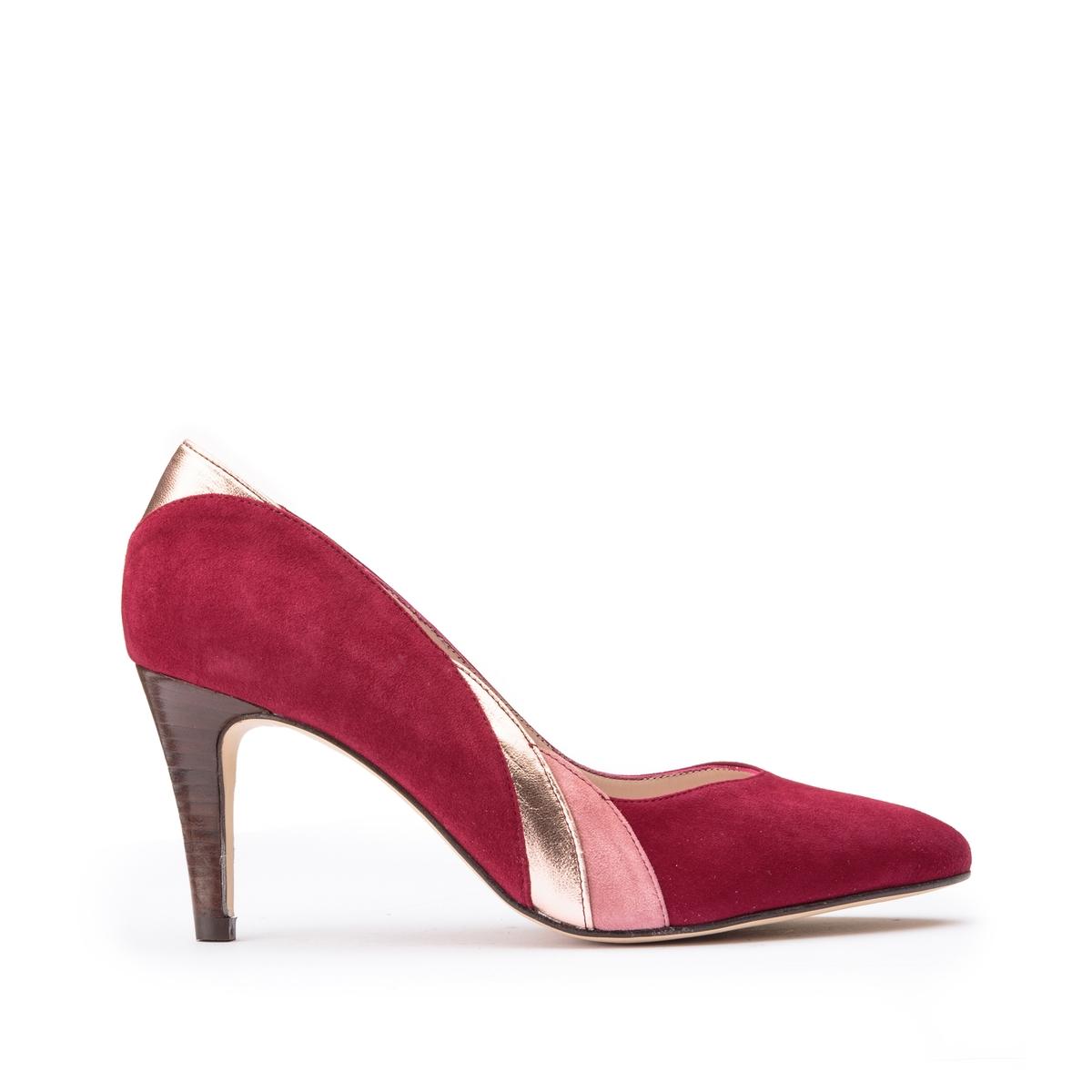 Туфли La Redoute Кожаные двухцветные 39 красный ботильоны la redoute кожаные горные на меху laurence 36 белый