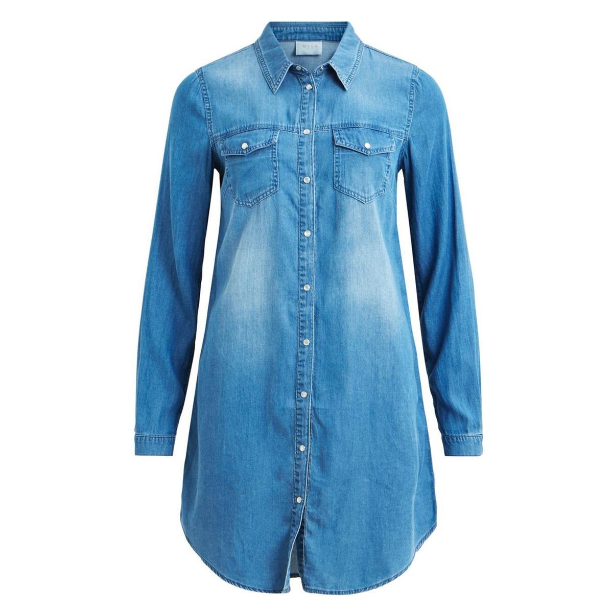 Платье прямое однотонное средней длины, с длинными рукавамиОписание:Детали •  Форма : прямая •  Длина до колен •  Длинные рукава    •  Рубашечный воротник полоСостав и уход •  30 % хлопок, 70 % лиоцелл •  Следуйте советам по уходу, указанным на этикетке<br><br>Цвет: синий стираный<br>Размер: XS.L