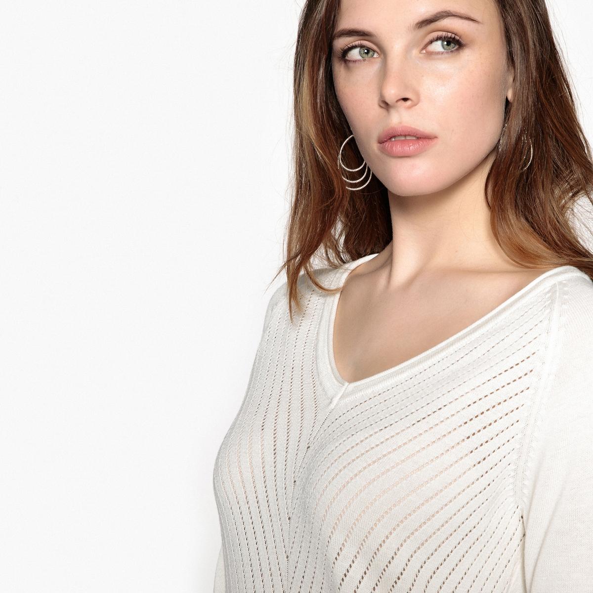 Пуловер с V-образным вырезом из оригинального трикотажаОписание:Пуловер из оригинального тонкого трикотажа. Оригинальный рисунок в крапинку спереди. Очень женственный пуловер благодаря слегка ажурному трикотажу.Детали •  Длинные рукава •   V-образный вырез •  Тонкий трикотажСостав и уход •  45% акрила, 55% хлопка •  Температура стирки 40° на деликатном режиме   •  Сухая чистка и отбеливатели запрещены •  Не использовать барабанную сушку • Средняя температура глажки  •  V-образный вырез с отделкой руликом. Края низа и манжет связаны в рубчик.  Оригинальные пуговицы по бокам. Длинные рукава реглан. Приспущенные плечевые швы. •  Длина  : 63 см<br><br>Цвет: черный,экрю<br>Размер: 42/44 (FR) - 48/50 (RUS).46/48 (FR) - 52/54 (RUS).42/44 (FR) - 48/50 (RUS).50/52 (FR) - 56/58 (RUS).38/40 (FR) - 44/46 (RUS).38/40 (FR) - 44/46 (RUS)