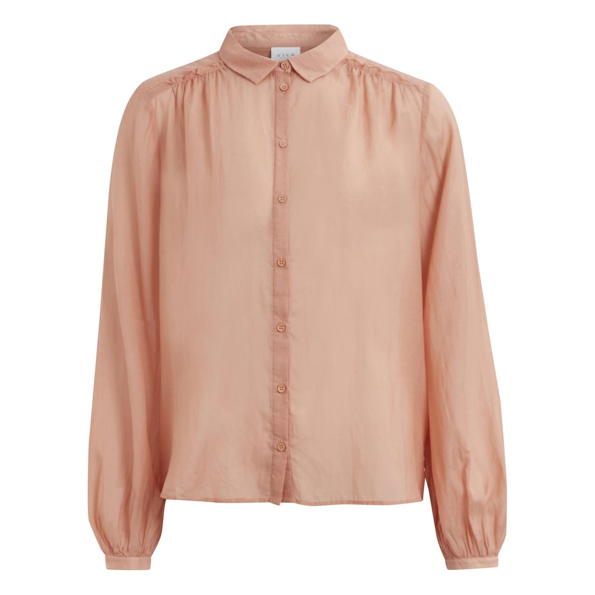 Рубашка из вуали VIPOPULAR L/S SHIRTРубашка  VIPOPULAR L/S SHIRT от VILA . Рубашка из хлопковой вуали . Проймы с воланами . Рубашечный воротник со свободными уголками  . Застежка на пуговицы. Рукава с легким напуском на уровне манжет .Состав и описание :Материал : 100% хлопкаМарка : VILA.<br><br>Цвет: бледно-розовый<br>Размер: S