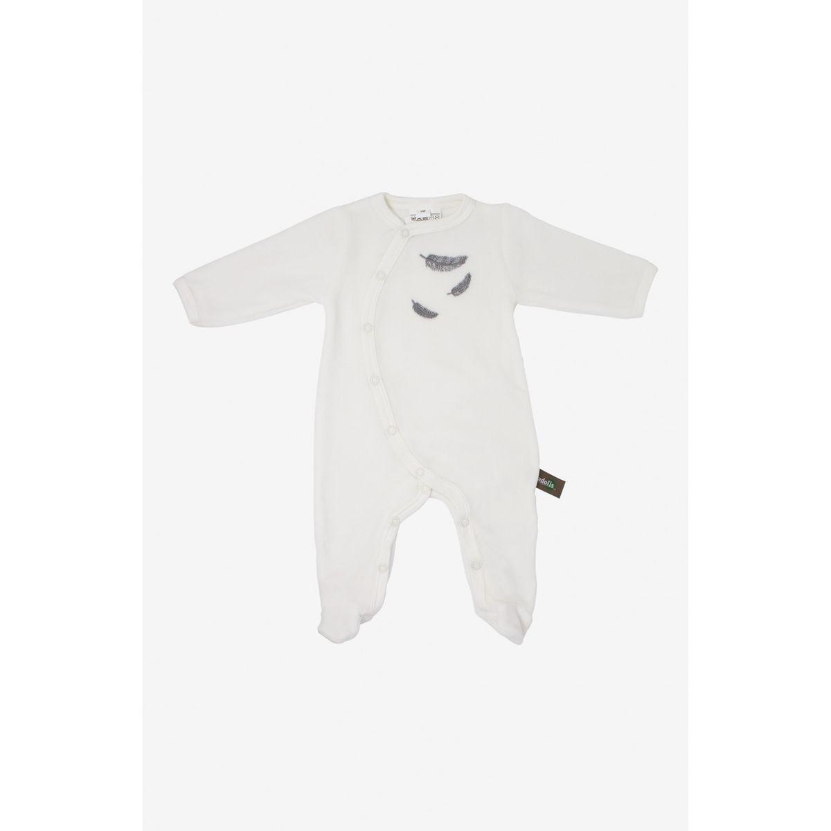 Pyjama bébé en coton bio à motifs plumes colorées