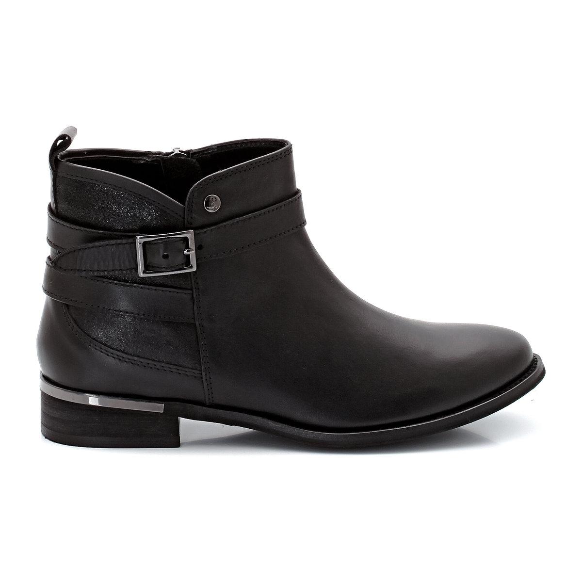 Ботильоны кожаные на молнии, металлические деталиИзящные, женственные и на пике последних тенденций, современная модель с металлическими деталями. Эти кожаные ботильоны сочетаются с нашими нарядами городского стиля.<br><br>Цвет: черный<br>Размер: 38