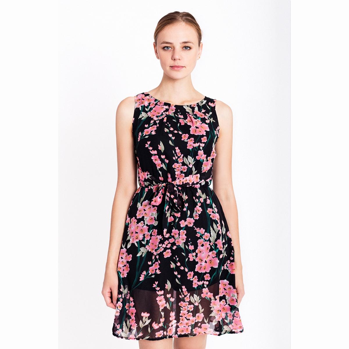 Платье из вуали с цветочным рисунком.Состав и описаниеМатериалы: 100% полиэстер.Марка: Migle+MeУходСледуйте рекомендациям по уходу, указанным на этикетке изделия.<br><br>Цвет: черный наб. рисунок