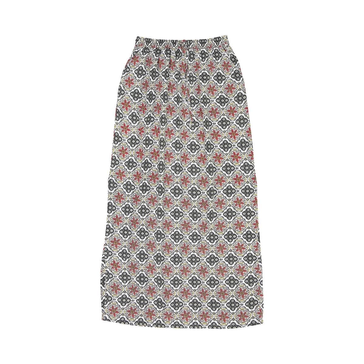 Юбка длинная с рисункомМатериал : 100% вискоза   Рисунок : принт  Длина юбки : длинная<br><br>Цвет: рисунок/фон экрю