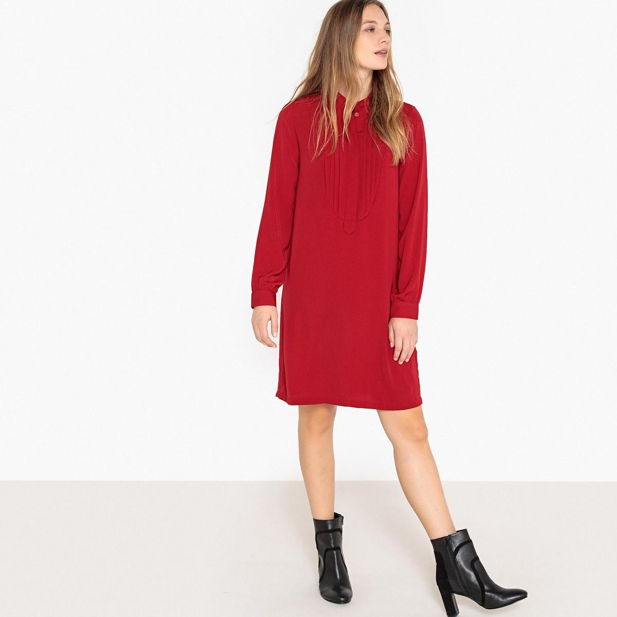 цена Платье-миди La Redoute Прямое с длинными рукавами 34 (FR) - 40 (RUS) красный онлайн в 2017 году