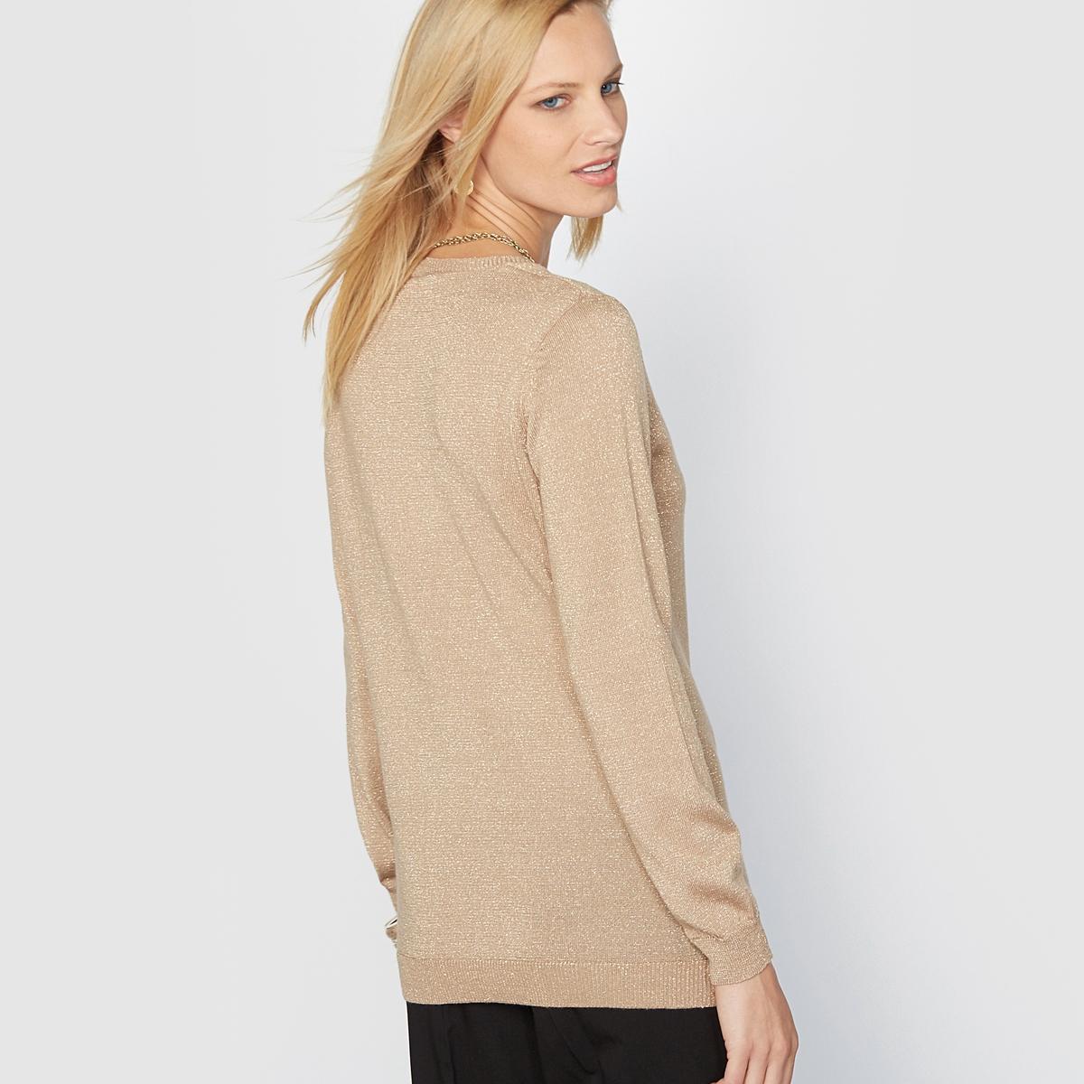 Пуловер из блестящего трикотажа, 13% шерстиЭлегантный и женственный пуловер из красивого блестящего трикотажа. Оригинальный V-образный вырез с небольшим бантиком. Отделка рубчиком выреза, краёв низа и длинных рукавов. Приспущенные плечевые швы.Состав и описание :Материал : Блестящий трикотаж,  71% акрила, 13% шерсти, 10% полиэстера, 6% металлизированных волокон.Длина: 62 см.Марка : Anne WeyburnУход :Машинная стирка при 30° на умеренном режиме с изнанки .Гладить на низкой температуре с изнанки.<br><br>Цвет: бронзовый