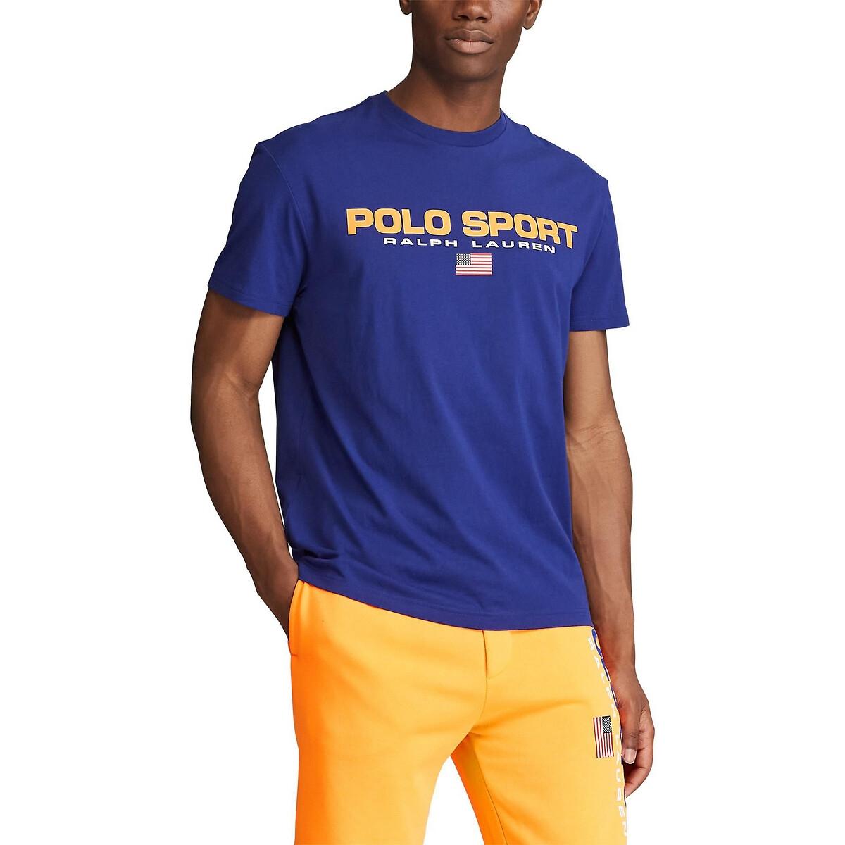 Футболка La Redoute С круглым вырезом Polo Sport L синий