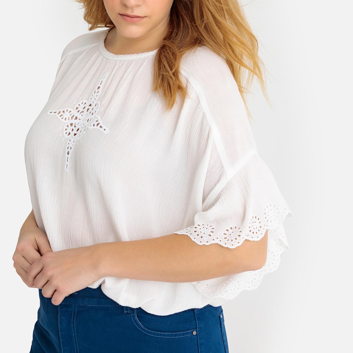 Blusa em gaze de algodão bordada, mangas borboleta