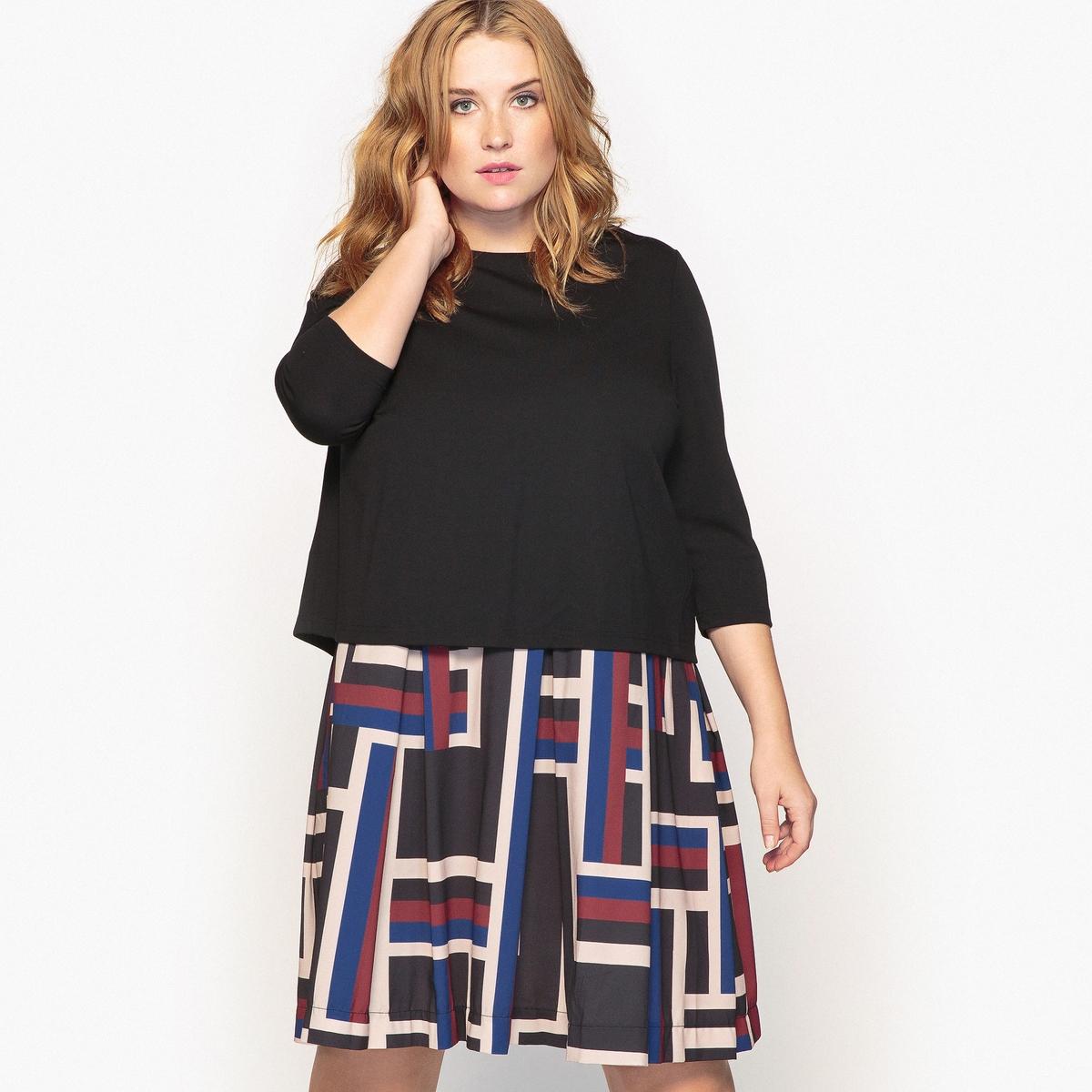 Платье расклешенное с рисункомНеотразимое платье с эффектом наложения тканей, с геометрическим мотивом снизу  . Решитесь на это оригинальное плаье с великолепным принтом, которое будет идеально смотреться с ботильонами  . Детали •  Форма : расклешенная •  Длина до колен •  Рукава 3/4    •  Круглый вырез •  Рисунок-принтСостав и уход •  61% вискозы, 9% эластана, 30% полиэстера •  Подкладка : 100% полиэстер •  Температура стирки при 30° на деликатном режиме   • Низкая температура глажки / не отбеливать   •  Не использовать барабанную сушку • Сухая чистка запрещенаТовар из коллекции больших размеров •  Длина 102 см<br><br>Цвет: графичный рисунок<br>Размер: 46 (FR) - 52 (RUS).48 (FR) - 54 (RUS).58 (FR) - 64 (RUS)