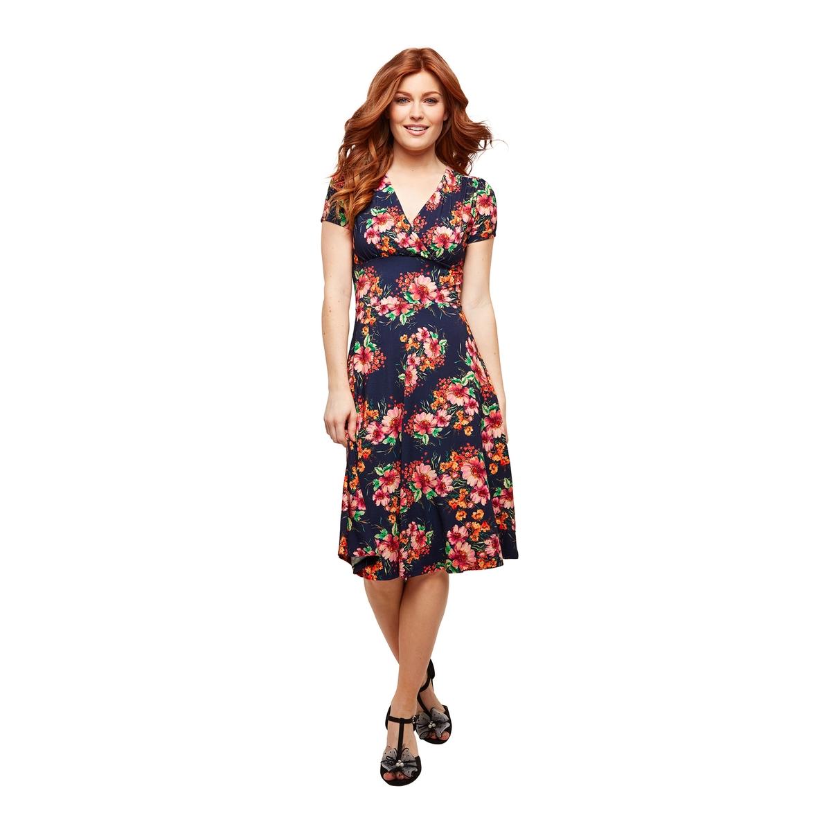 Платье-миди La Redoute С короткими рукавами цветочным рисунком 38 (FR) - 44 (RUS) синий платье la redoute прямое с цветочным рисунком и короткими рукавами 36 fr 42 rus зеленый