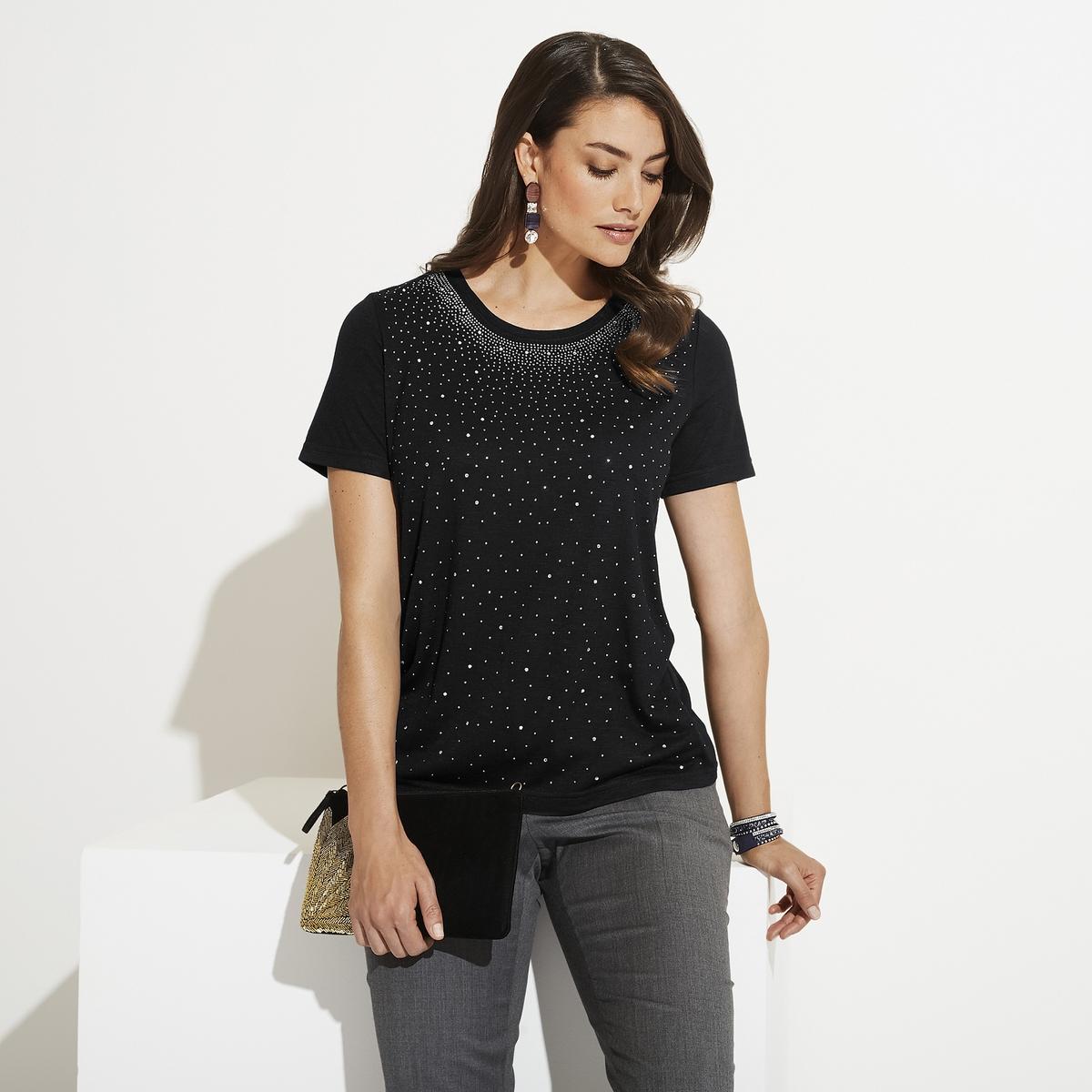 Imagen principal de producto de Camiseta con cuello redondo y fantasía de estrás - Anne weyburn