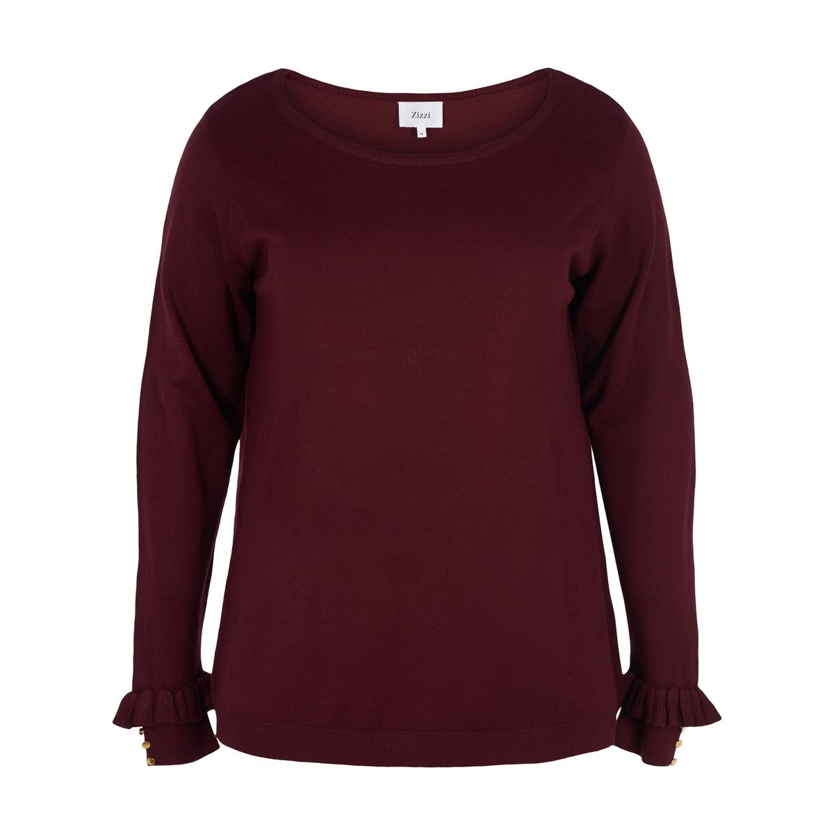 Пуловер воланами и длинными рукавами пуловер с длинными рукавами