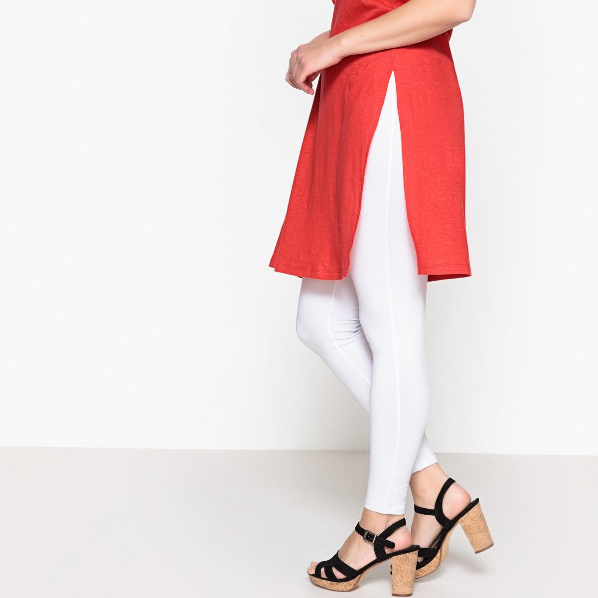Леггинсы длинныеДлинные леггинсы. Незаменимая вещь в любом гардеробе! Эластичный пояс черного цвета для моделей любого цвета. 95% хлопка, 5% эластана. Длина по внутр.шву 68 см.<br><br>Цвет: белый,серый меланж<br>Размер: 50/52 (FR) - 56/58 (RUS).62/64 (FR) - 68/70 (RUS)
