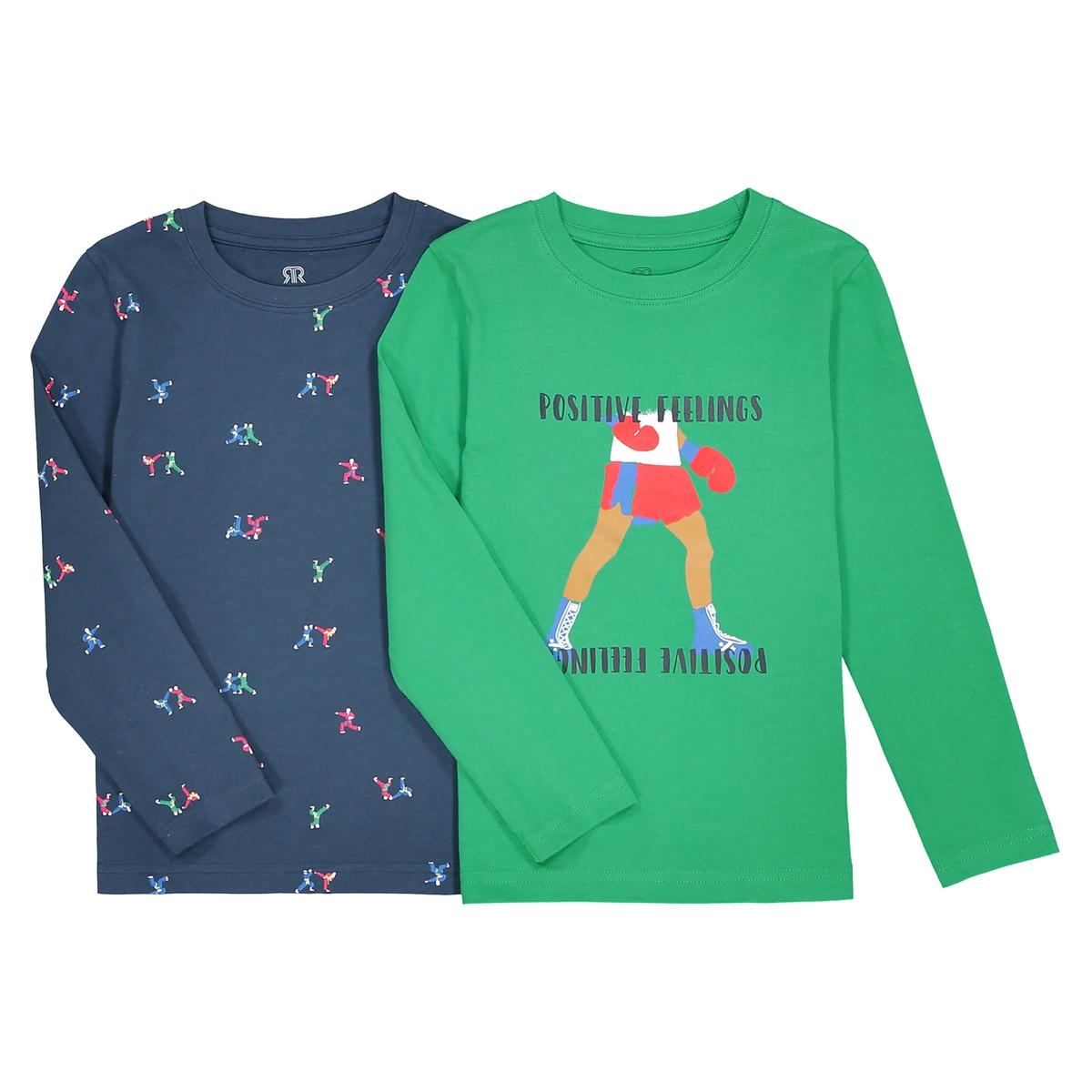 Комплект из 2 футболок с длинными рукавами 3-12 летОписание:Детали •  Длинные рукава •  Круглый вырез •  Рисунок-принтСостав и уход •  100% хлопок •  Температура стирки 30° •  Гладить при низкой температуре / не отбеливать • Барабанная сушка на слабом режиме       •  Сухая чистка запрещена<br><br>Цвет: синий + зеленый<br>Размер: 5 лет - 108 см.4 года - 102 см.12 лет -150 см.6 лет - 114 см.3 года - 94 см.10 лет - 138 см