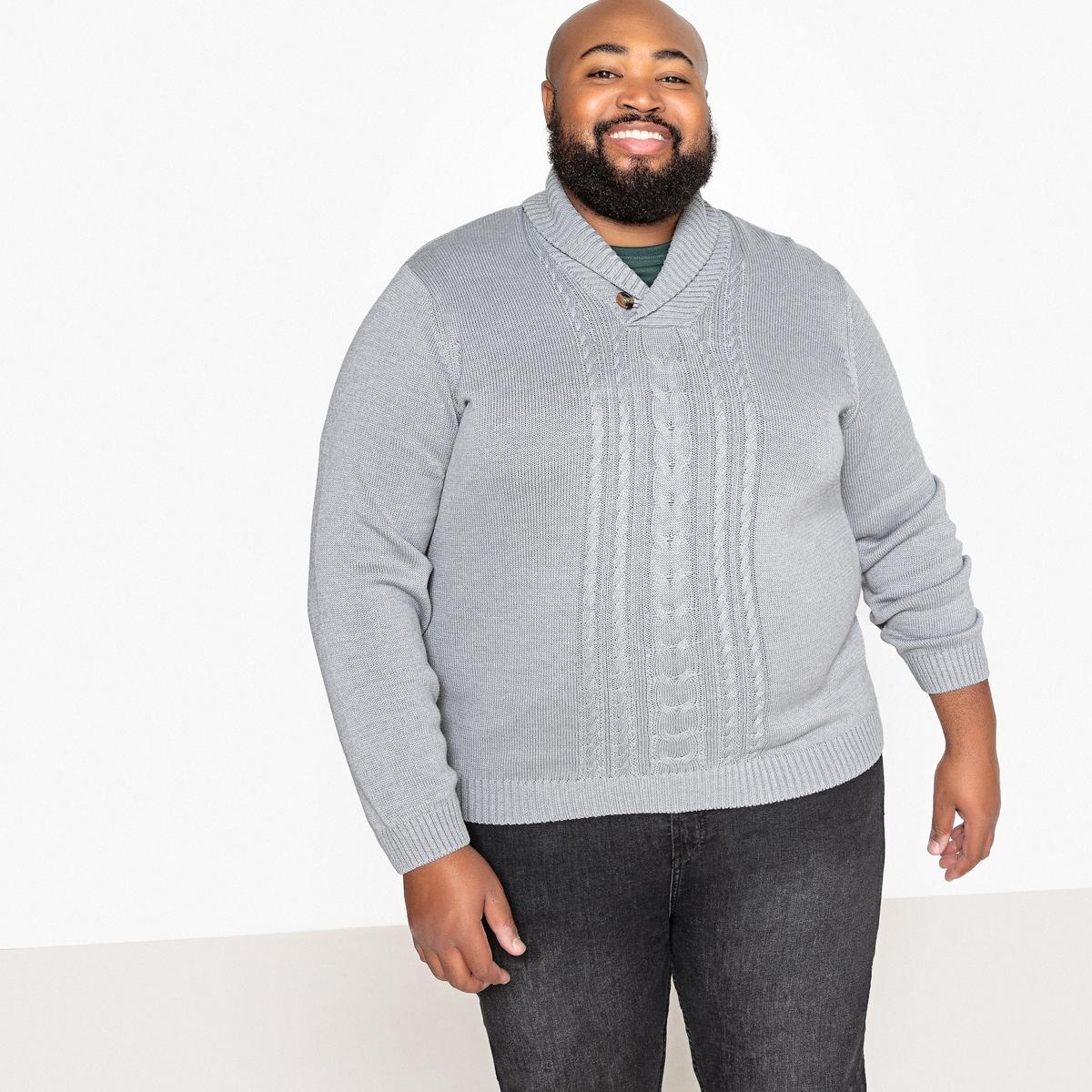 Пуловер La Redoute Большого размера с шалевым воротником из плотного трикотажа 3XL серый