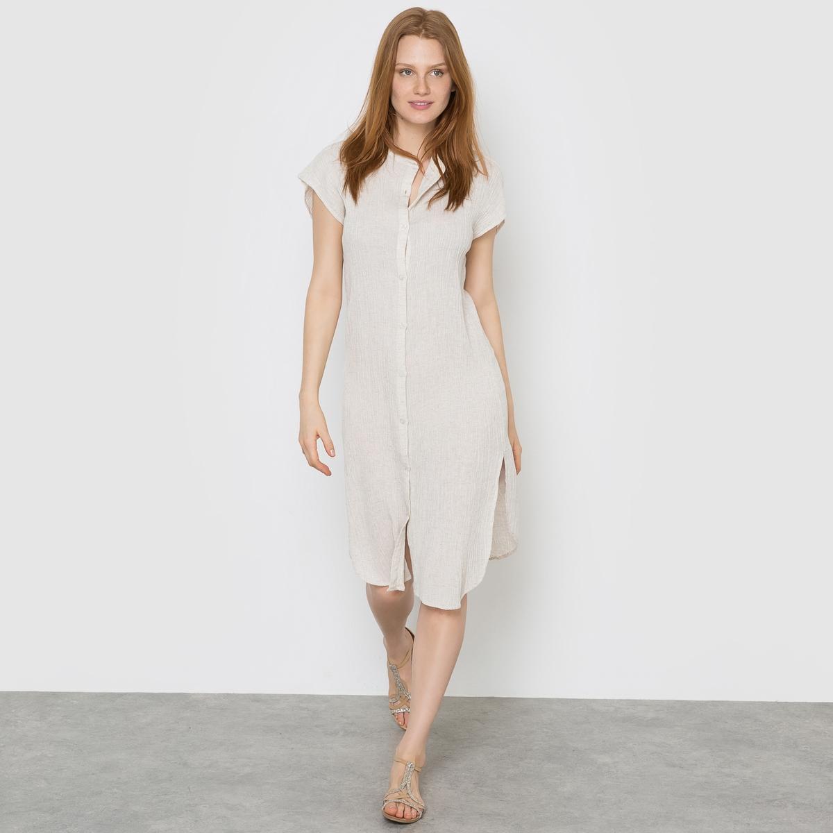 Платье-туника с маленькими рукавамиСостав и описание :Материал : 50% хлопка, 50% вискозы<br><br>Цвет: бежевый<br>Размер: XS